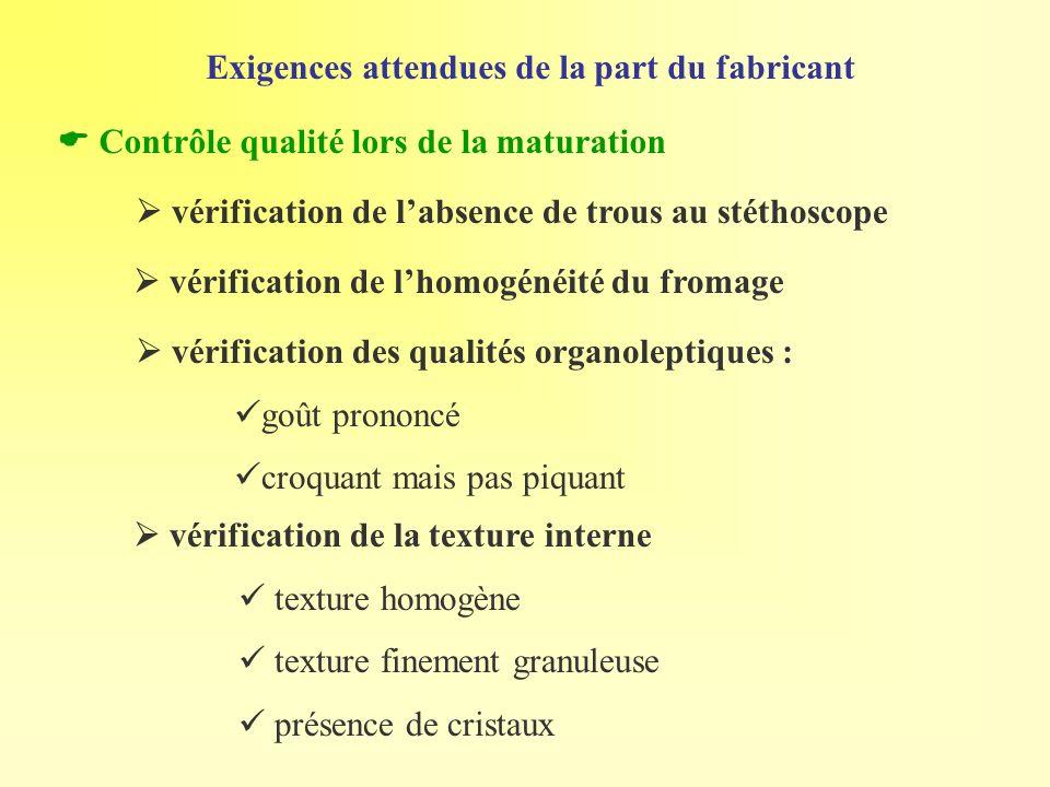 Exigences attendues de la part du fabricant vérification de labsence de trous au stéthoscope Contrôle qualité lors de la maturation vérification des q
