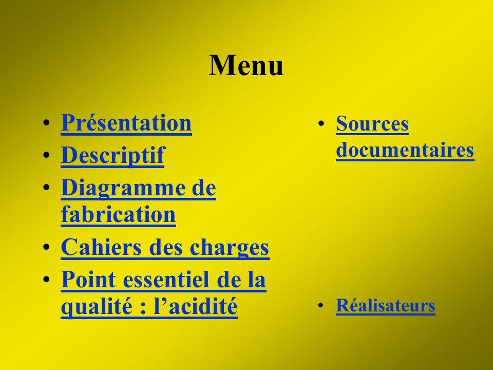 Présentation Descriptif Diagramme de fabricationDiagramme de fabrication Cahiers des charges Point essentiel de la qualité : laciditéPoint essentiel d