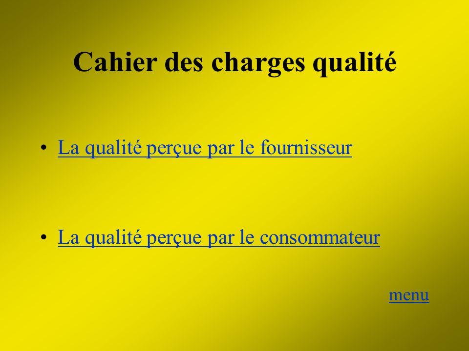 Cahier des charges qualité La qualité perçue par le fournisseur La qualité perçue par le consommateur menu