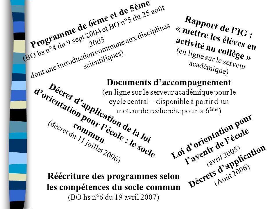 Programme de 6ème et de 5ème (BO hs n°4 du 9 sept 2004 et BO n°5 du 25 août 2005 dont une introduction commune aux disciplines scientifiques) Document