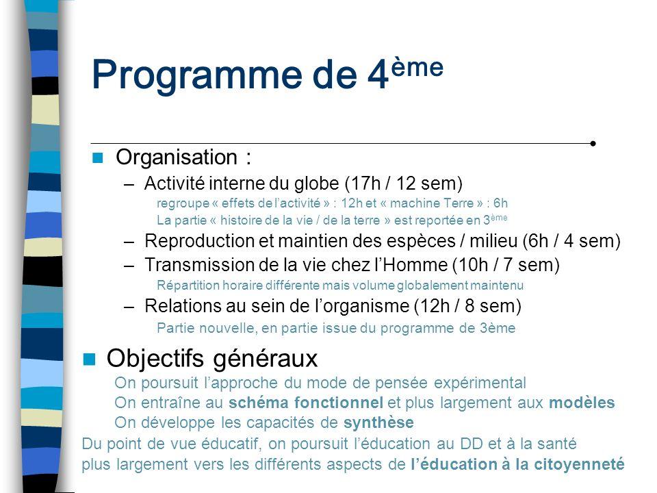 Programme de 4 ème Organisation : –Activité interne du globe (17h / 12 sem) regroupe « effets de lactivité » : 12h et « machine Terre » : 6h La partie