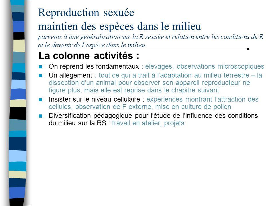 Reproduction sexuée maintien des espèces dans le milieu parvenir à une généralisation sur la R sexuée et relation entre les conditions de R et le deve