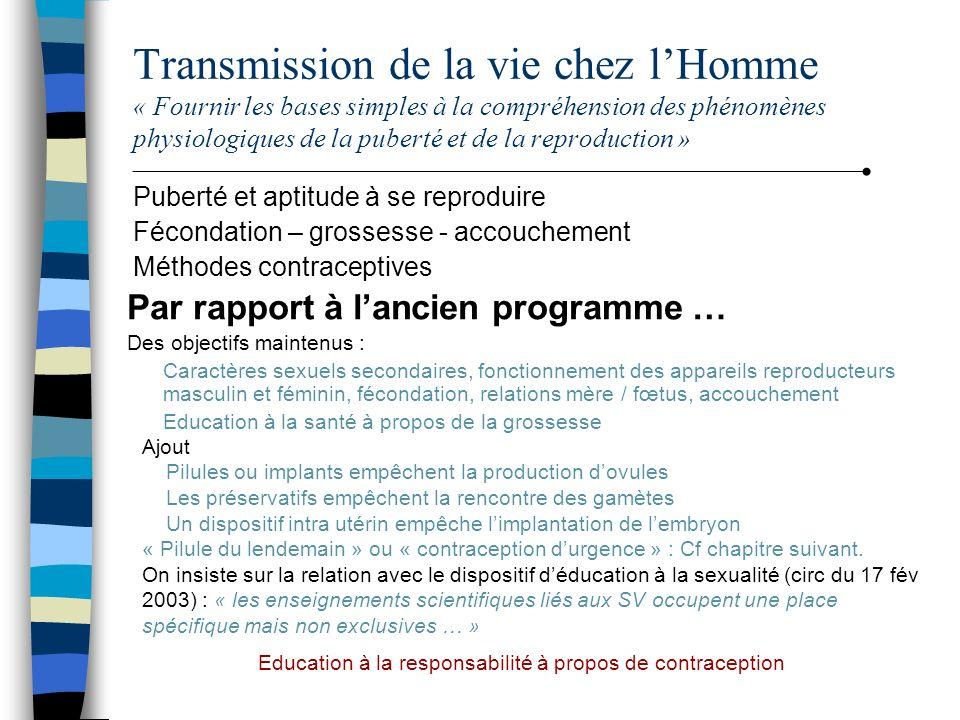 Transmission de la vie chez lHomme « Fournir les bases simples à la compréhension des phénomènes physiologiques de la puberté et de la reproduction »