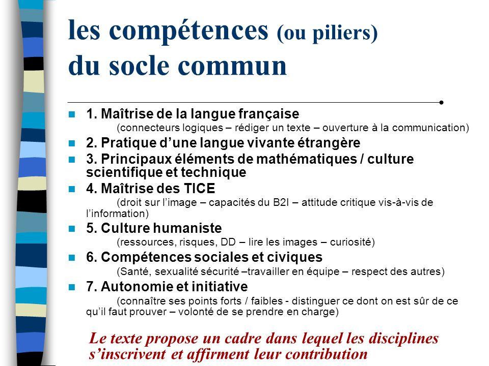 les compétences (ou piliers) du socle commun 1. Maîtrise de la langue française (connecteurs logiques – rédiger un texte – ouverture à la communicatio