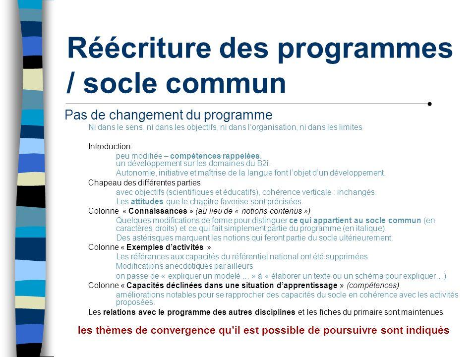 Réécriture des programmes / socle commun Pas de changement du programme Ni dans le sens, ni dans les objectifs, ni dans lorganisation, ni dans les lim