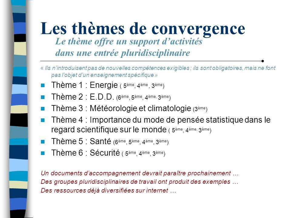 Les thèmes de convergence « Ils nintroduisent pas de nouvelles compétences exigibles ; ils sont obligatoires, mais ne font pas lobjet dun enseignement