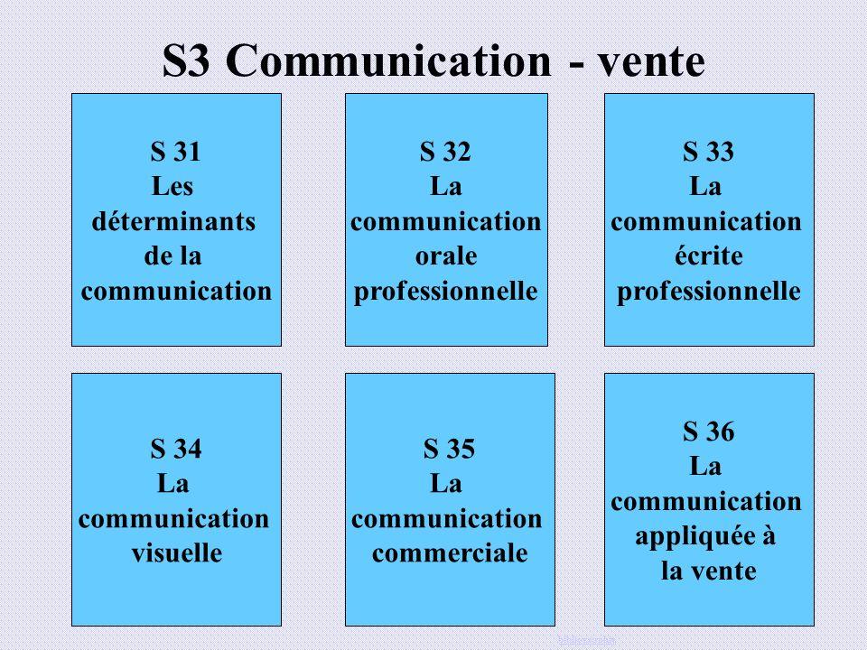 S3 Communication - vente S 31 Les déterminants de la communication S 32 La communication orale professionnelle S 33 La communication écrite profession