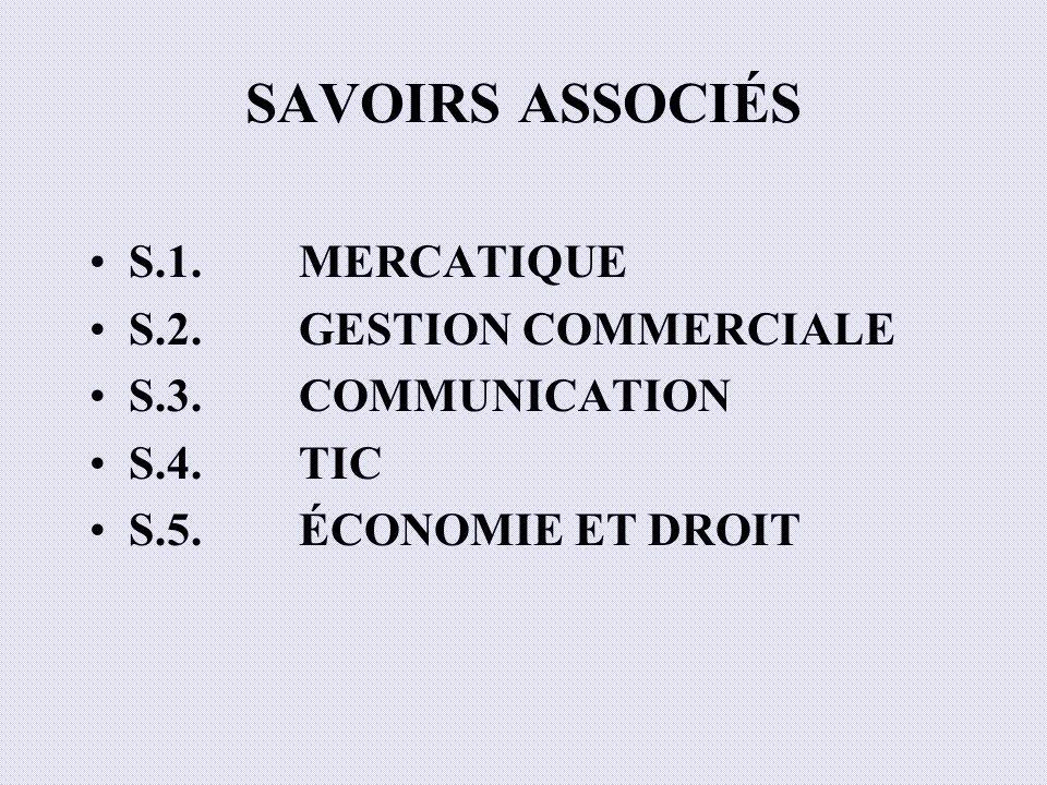 SAVOIRS ASSOCIÉS S.1.MERCATIQUE S.2.GESTION COMMERCIALE S.3.COMMUNICATION S.4. TIC S.5.ÉCONOMIE ET DROIT