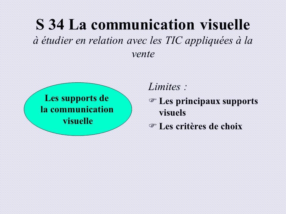 S 34 La communication visuelle à étudier en relation avec les TIC appliquées à la vente Limites : Les principaux supports visuels Les critères de choi