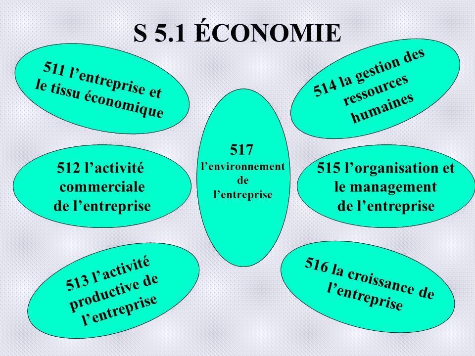 S 5.1 ÉCONOMIE 511 lentreprise et le tissu économique 512 lactivité commerciale de lentreprise 513 lactivité productive de lentreprise 516 la croissan