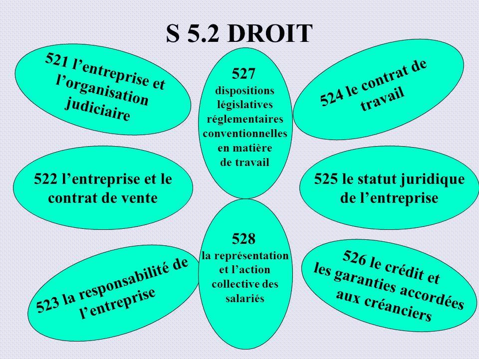 S 5.2 DROIT 521 lentreprise et lorganisation judiciaire 522 lentreprise et le contrat de vente 523 la responsabilité de lentreprise 526 le crédit et l