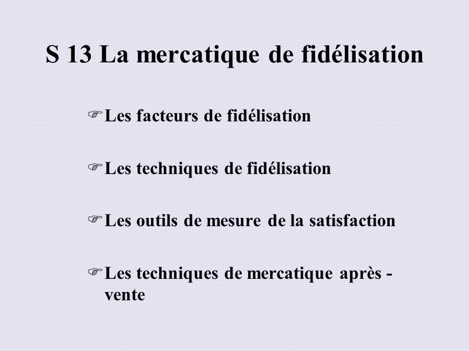 S 13 La mercatique de fidélisation Les facteurs de fidélisation Les techniques de fidélisation Les outils de mesure de la satisfaction Les techniques