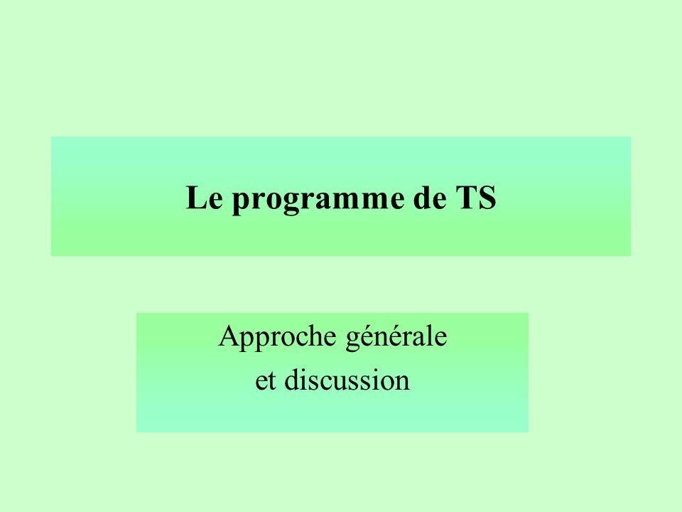 Le programme de TS Approche générale et discussion