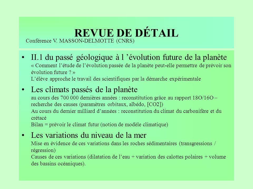 REVUE DE DÉTAIL I.8 couplage des événements géologiques et biologiques au cours du temps –La crise Crétacé paléocène est présentée comme lune des cris