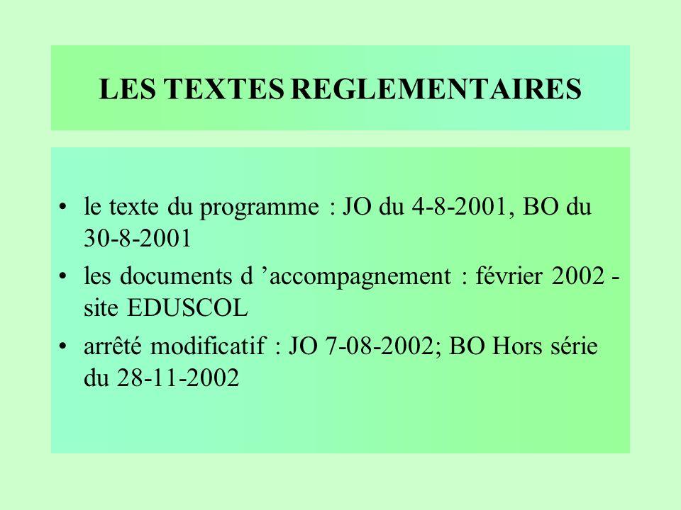 LES TEXTES REGLEMENTAIRES le texte du programme : JO du 4-8-2001, BO du 30-8-2001 les documents d accompagnement : février 2002 - site EDUSCOL arrêté modificatif : JO 7-08-2002; BO Hors série du 28-11-2002