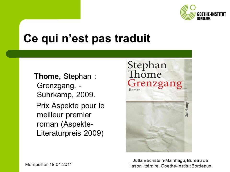Montpellier, 19.01.2011 Jutta Bechstein-Mainhagu, Bureau de liason littéraire, Goethe-Institut Bordeaux Ce qui nest pas traduit Thome, Stephan : Grenzgang.