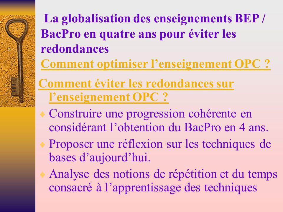 La globalisation des enseignements BEP / BacPro en quatre ans pour éviter les redondances Comment optimiser lenseignement OPC .