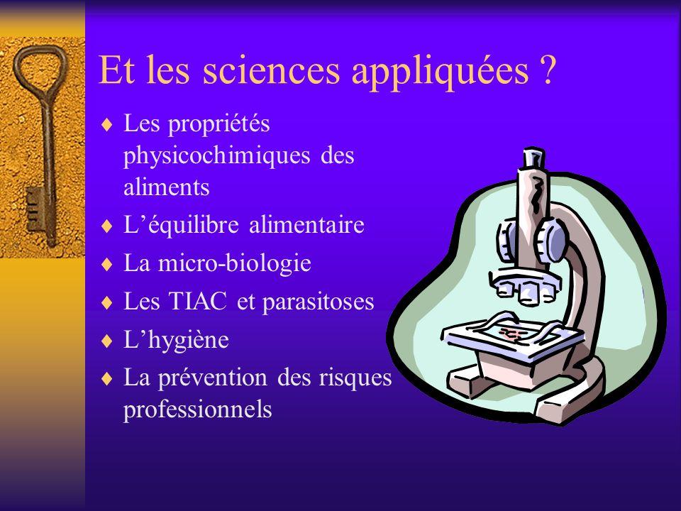 Et les sciences appliquées .
