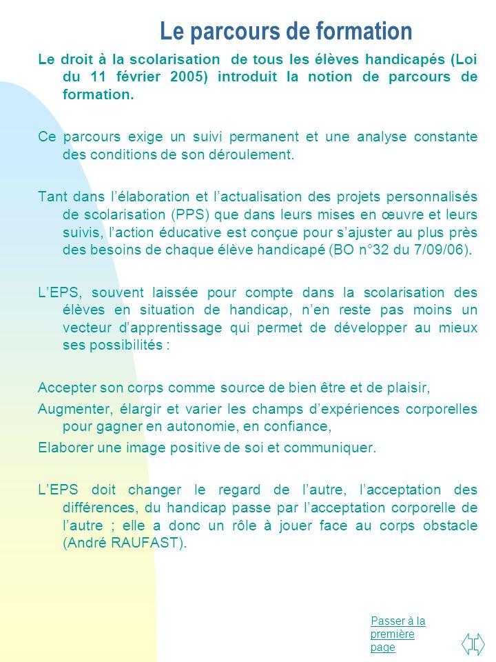 Passer à la première page Le parcours de formation Le droit à la scolarisation de tous les élèves handicapés (Loi du 11 février 2005) introduit la not