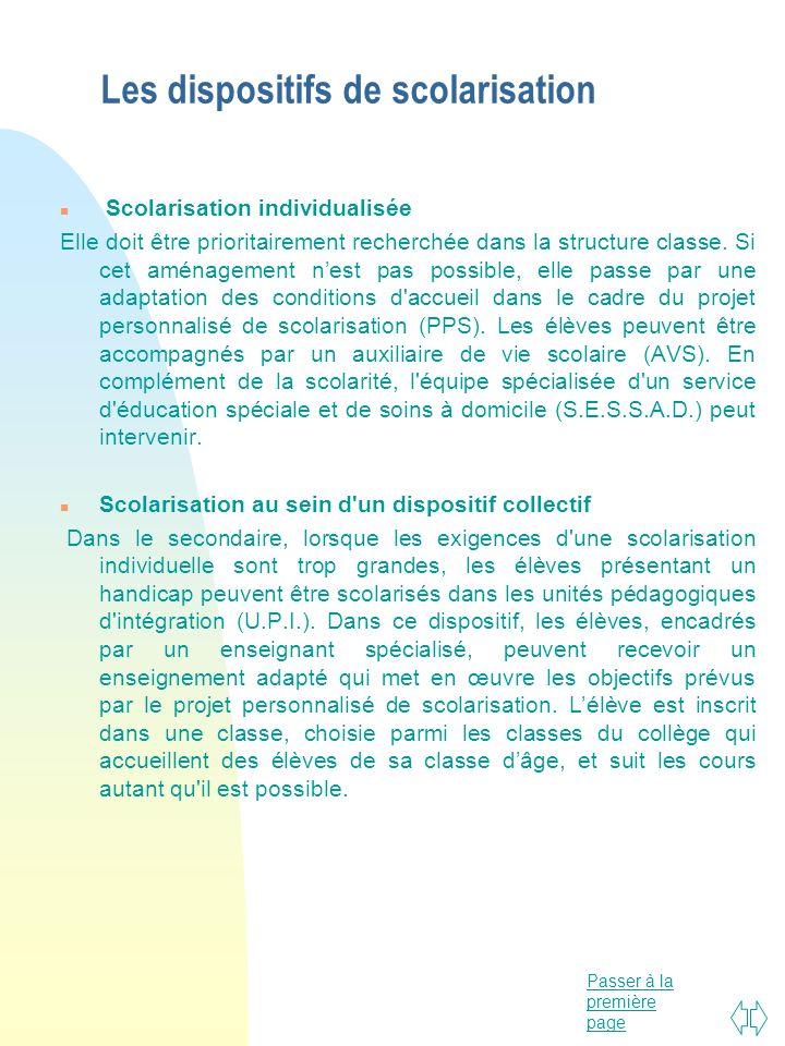 Passer à la première page Les dispositifs de scolarisation n Scolarisation individualisée Elle doit être prioritairement recherchée dans la structure