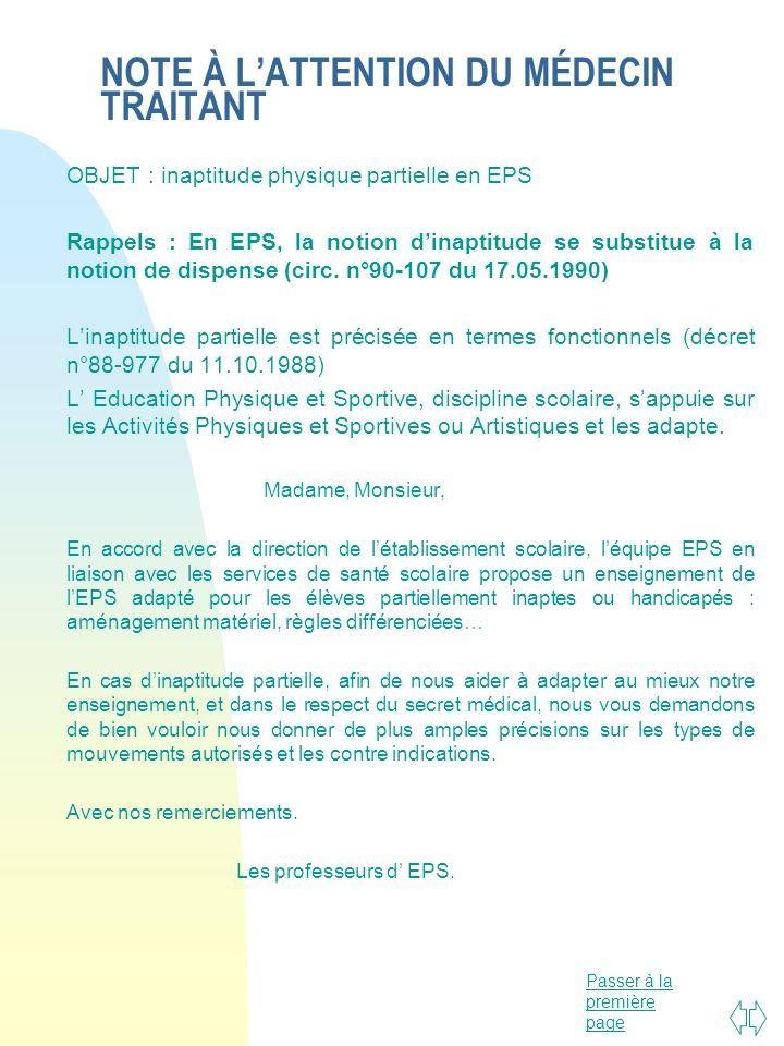 Passer à la première page NOTE À LATTENTION DU MÉDECIN TRAITANT OBJET : inaptitude physique partielle en EPS Rappels : En EPS, la notion dinaptitude s