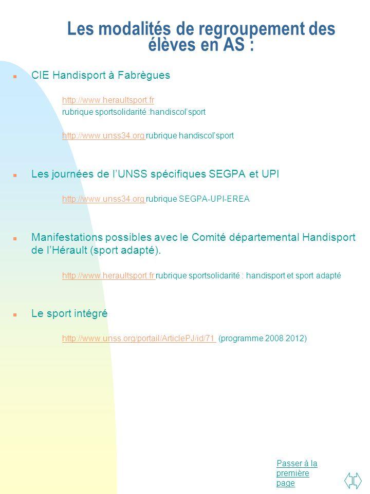 Passer à la première page Les modalités de regroupement des élèves en AS : n CIE Handisport à Fabrègues http://www.heraultsport.fr rubrique sportsolid