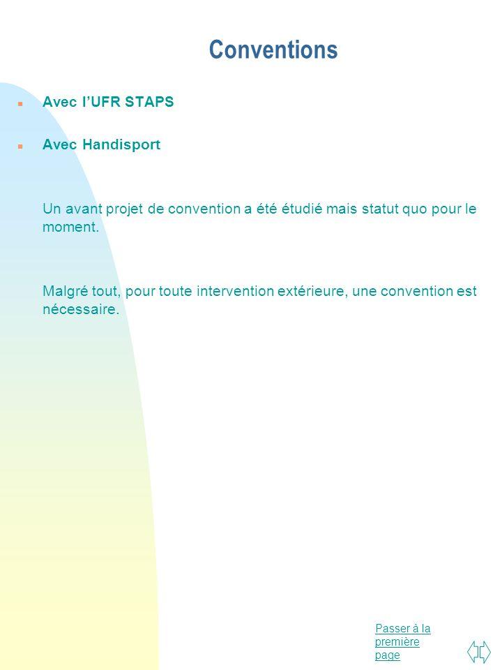 Passer à la première page Conventions n Avec lUFR STAPS n Avec Handisport Un avant projet de convention a été étudié mais statut quo pour le moment. M
