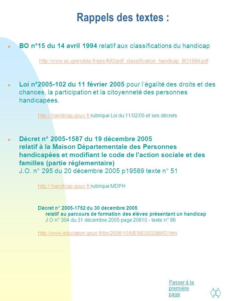 Passer à la première page Rappels des textes : n BO n°15 du 14 avril 1994 relatif aux classifications du handicap http://www.ac-grenoble.fr/eps/IMG/pd