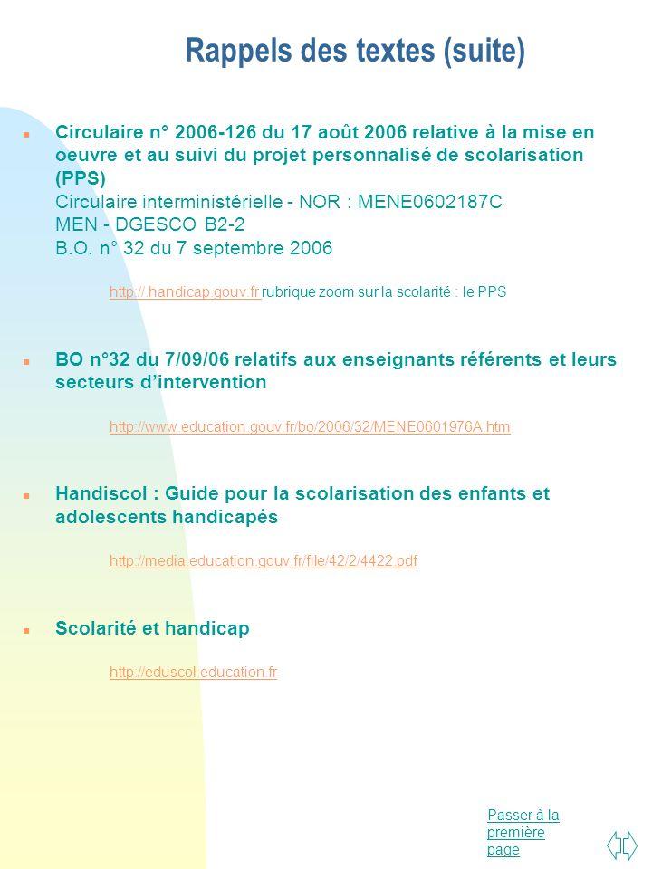 Passer à la première page Rappels des textes (suite) n Circulaire n° 2006-126 du 17 août 2006 relative à la mise en oeuvre et au suivi du projet perso