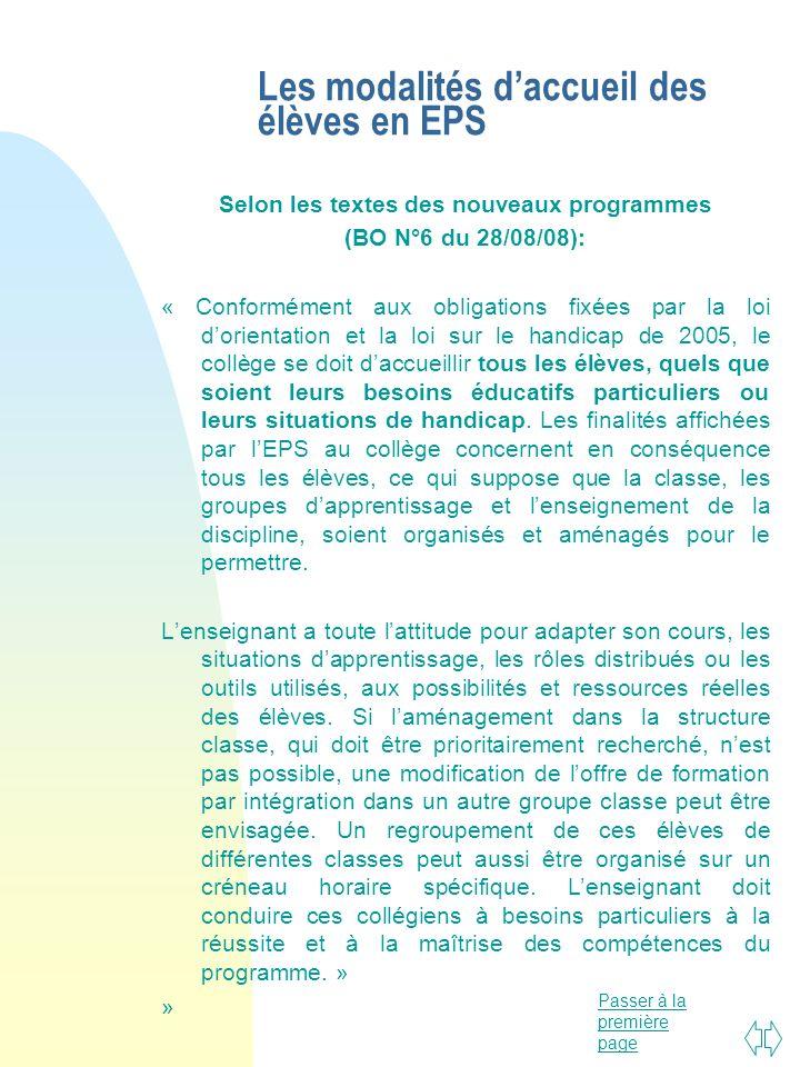 Passer à la première page Les modalités daccueil des élèves en EPS Selon les textes des nouveaux programmes (BO N°6 du 28/08/08): « Conformément aux o