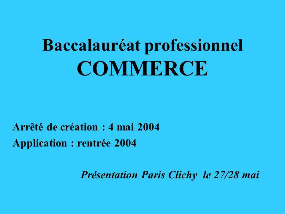 Baccalauréat professionnel COMMERCE Arrêté de création : 4 mai 2004 Application : rentrée 2004 Présentation Paris Clichy le 27/28 mai