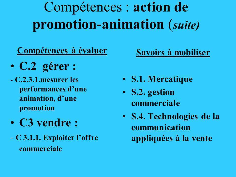Compétences : action de promotion-animation ( suite) Compétences à évaluer C.2 gérer : - C.2.3.1.mesurer les performances dune animation, dune promoti