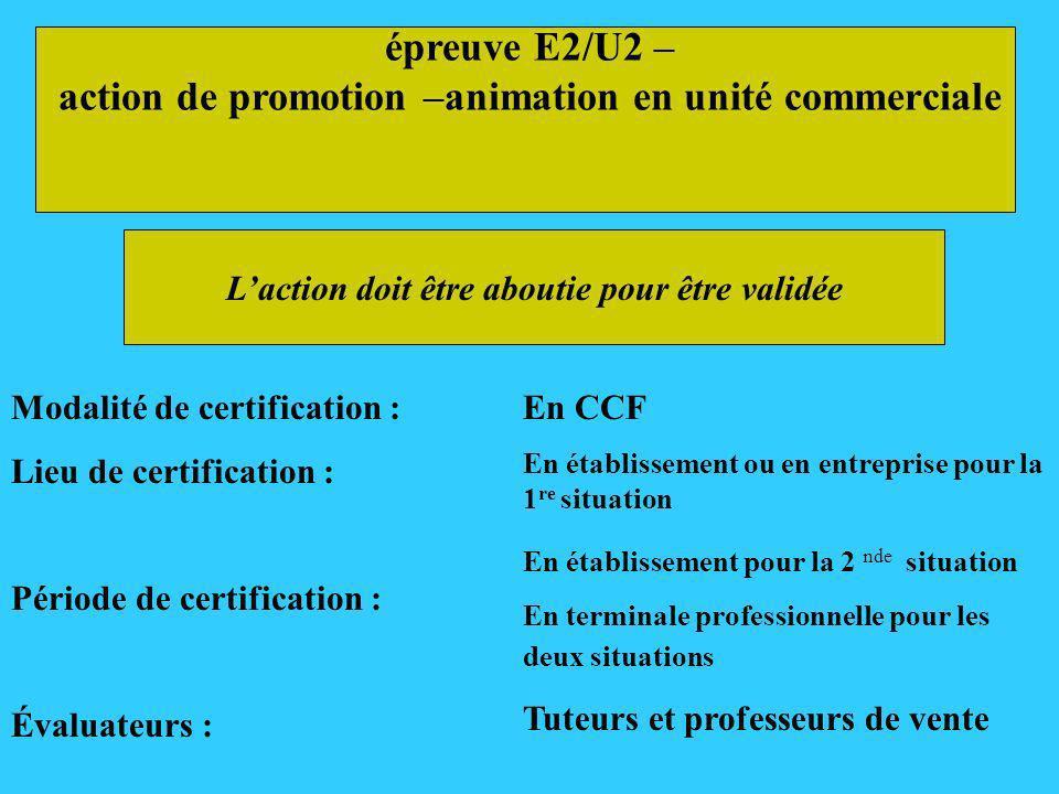épreuve E2/U2 – action de promotion –animation en unité commerciale Modalité de certification : Lieu de certification : Période de certification : Éva