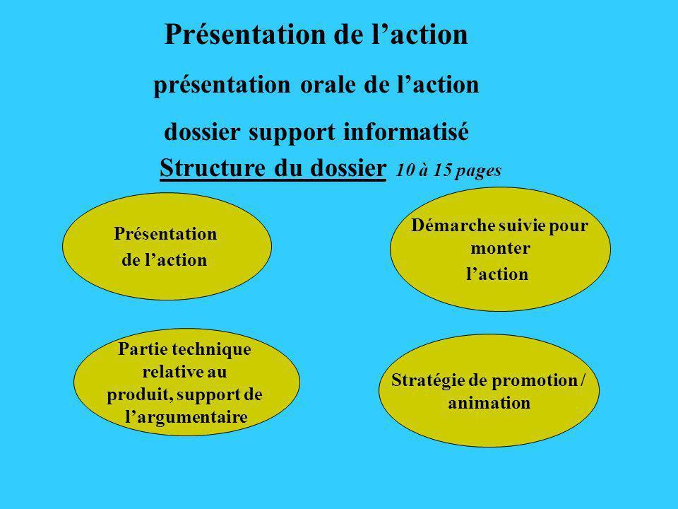 Structure du dossier 10 à 15 pages Présentation de laction Démarche suivie pour monter laction Stratégie de promotion / animation Présentation de lact