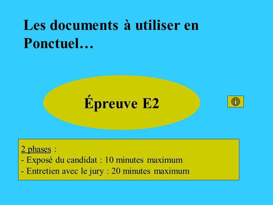 Les documents à utiliser en Ponctuel… Épreuve E2 2 phases : - Exposé du candidat : 10 minutes maximum - Entretien avec le jury : 20 minutes maximum