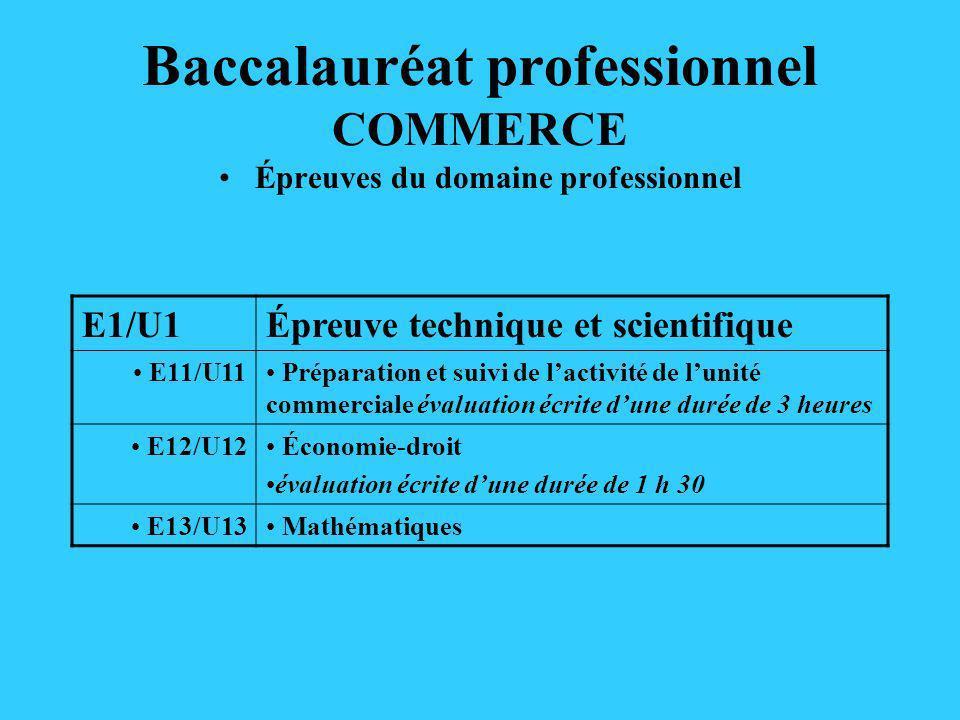Baccalauréat professionnel COMMERCE Épreuves du domaine professionnel E1/U1Épreuve technique et scientifique E11/U11 Préparation et suivi de lactivité