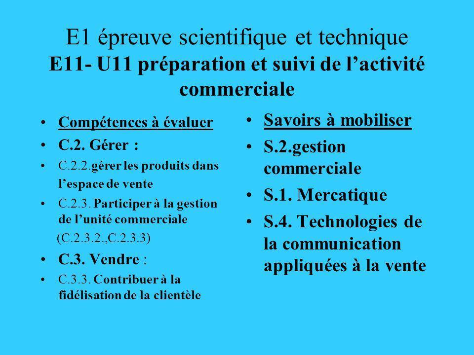 E1 épreuve scientifique et technique E11- U11 préparation et suivi de lactivité commerciale Compétences à évaluer C.2. Gérer : C.2.2.gérer les produit