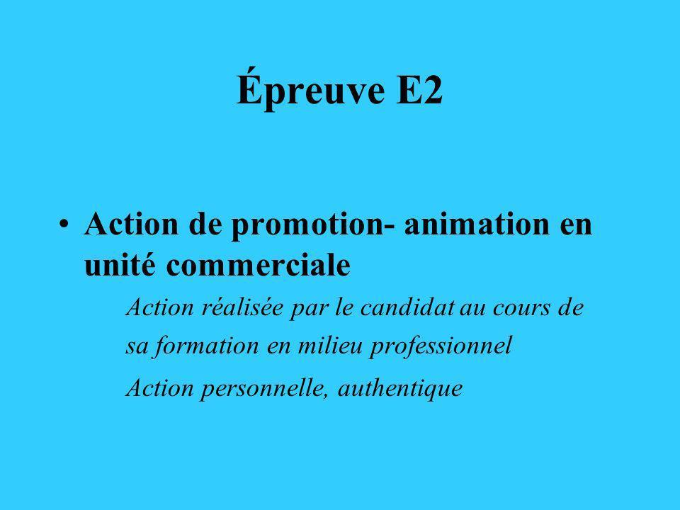 Épreuve E2 Action de promotion- animation en unité commerciale Action réalisée par le candidat au cours de sa formation en milieu professionnel Action