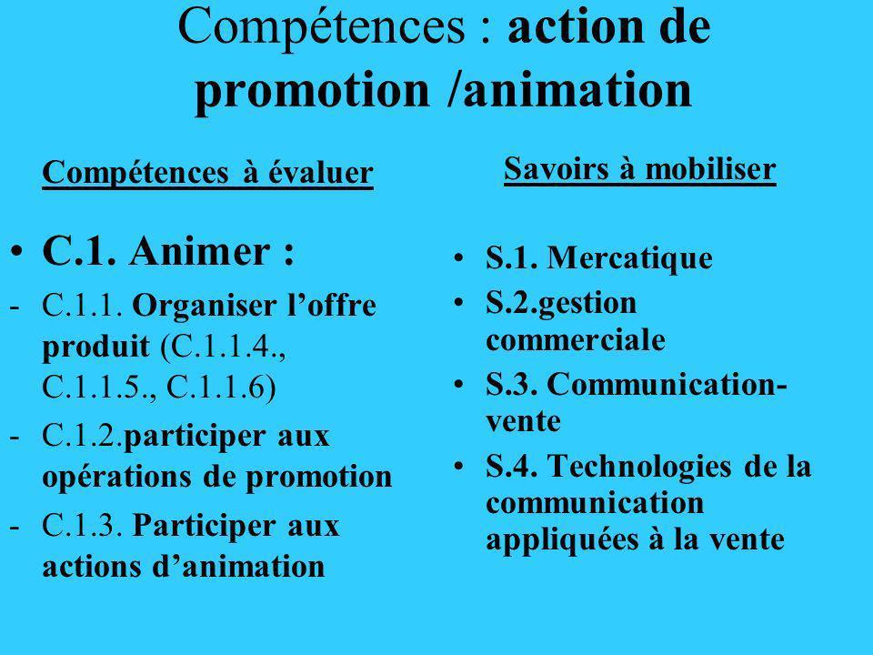 Compétences : action de promotion-animation ( suite) Compétences à évaluer C.2 gérer : - C.2.3.1.mesurer les performances dune animation, dune promotion C3 vendre : - C 3.1.1.