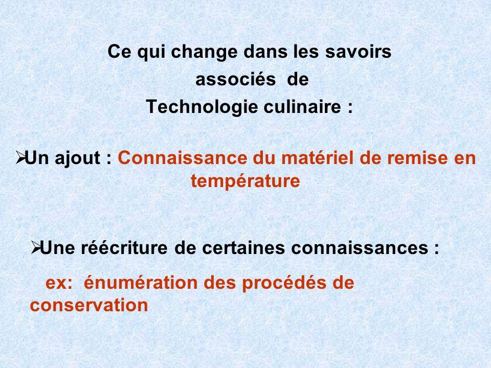 Ce qui change dans les savoirs associés de Technologie culinaire : Un ajout : Connaissance du matériel de remise en température Une réécriture de cert