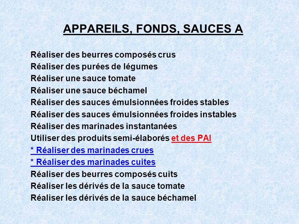 APPAREILS, FONDS, SAUCES A Réaliser des beurres composés crus Réaliser des purées de légumes Réaliser une sauce tomate Réaliser une sauce béchamel Réa