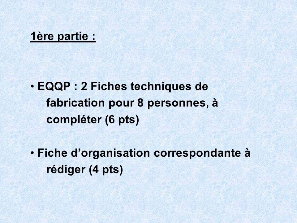 1ère partie : EQQP : 2 Fiches techniques de fabrication pour 8 personnes, à compléter (6 pts) Fiche dorganisation correspondante à rédiger (4 pts)