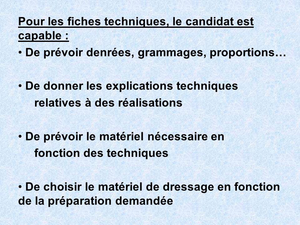 Pour les fiches techniques, le candidat est capable : De prévoir denrées, grammages, proportions… De donner les explications techniques relatives à de