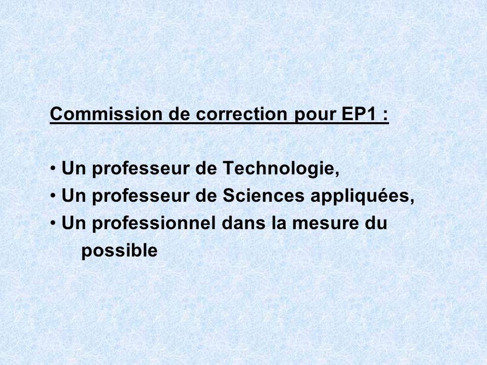 Commission de correction pour EP1 : Un professeur de Technologie, Un professeur de Sciences appliquées, Un professionnel dans la mesure du possible