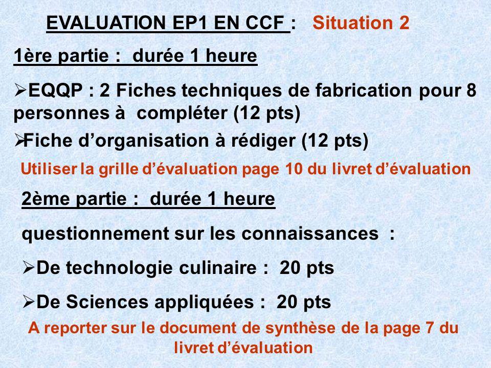 EVALUATION EP1 EN CCF : Situation 2 1ère partie : durée 1 heure EQQP : 2 Fiches techniques de fabrication pour 8 personnes à compléter (12 pts) Fiche