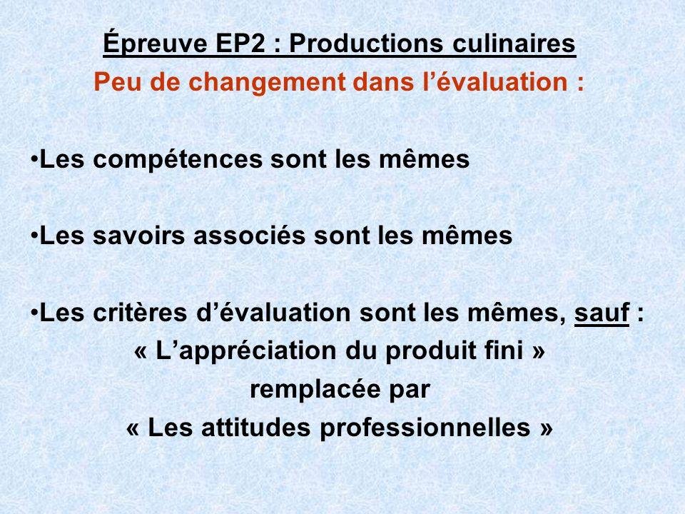 Épreuve EP2 : Productions culinaires Peu de changement dans lévaluation : Les compétences sont les mêmes Les savoirs associés sont les mêmes Les critè