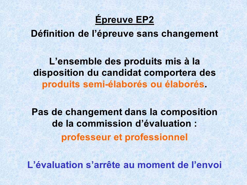 Épreuve EP2 Définition de lépreuve sans changement Lensemble des produits mis à la disposition du candidat comportera des produits semi-élaborés ou él