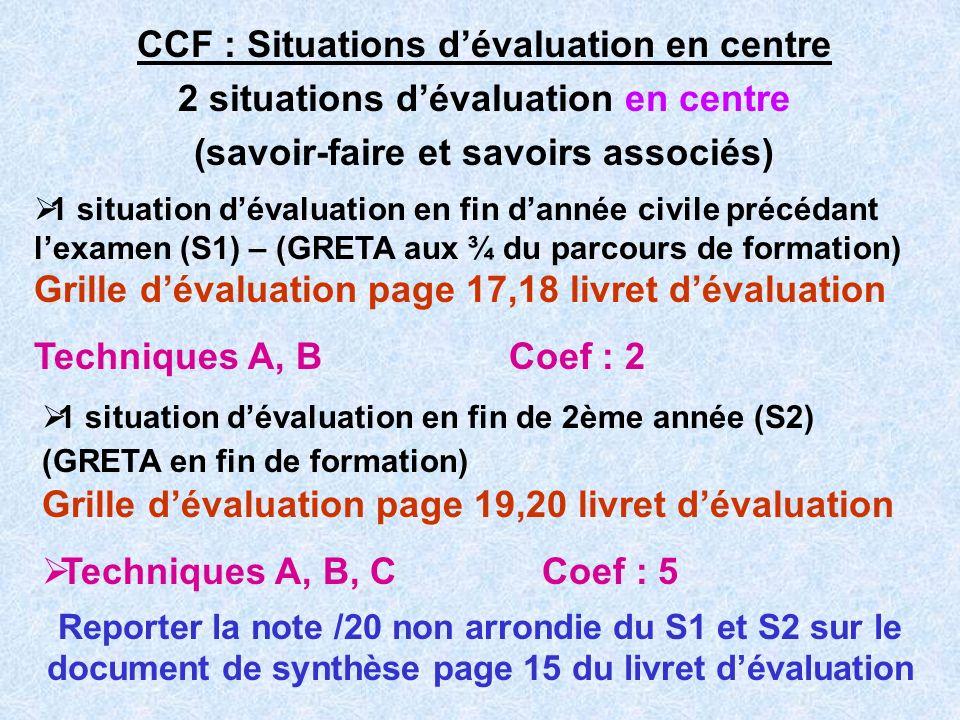 CCF : Situations dévaluation en centre 2 situations dévaluation en centre (savoir-faire et savoirs associés) 1 situation dévaluation en fin de 2ème an