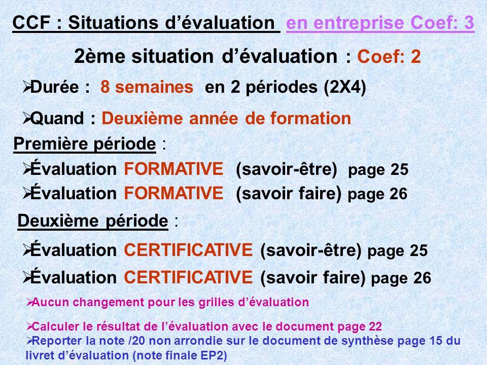 CCF : Situations dévaluation en entreprise Coef: 3 2ème situation dévaluation : Coef: 2 Évaluation FORMATIVE (savoir-être) page 25 Évaluation FORMATIV