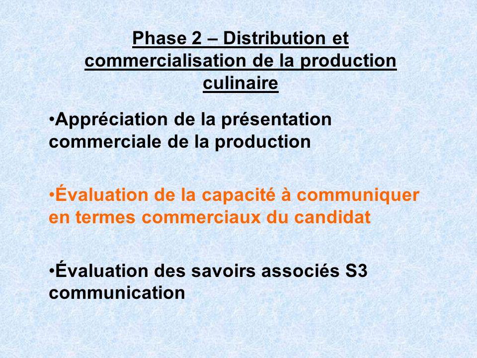 Phase 2 – Distribution et commercialisation de la production culinaire Appréciation de la présentation commerciale de la production Évaluation de la c